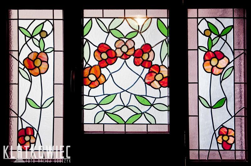 Gliwice: secesyjne witrażowe kwiaty