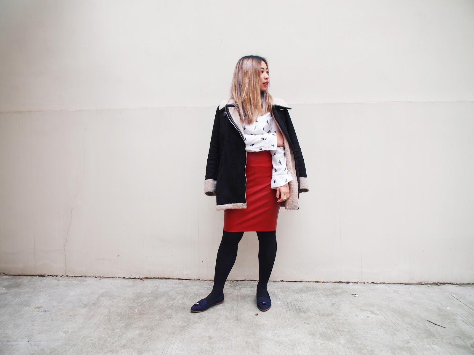 This is a photo of styling a Zara Shearling Coat + Business Look by Sidney Scarlett from www.sidneyscarlett.com