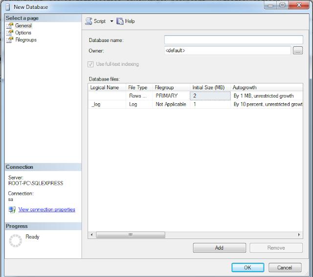 Create data di SQL Manajemen Studio