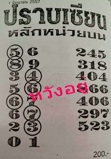 Thai Lotto VIP Tips | Thai lotto 3up Touch Tip 01-06-2014