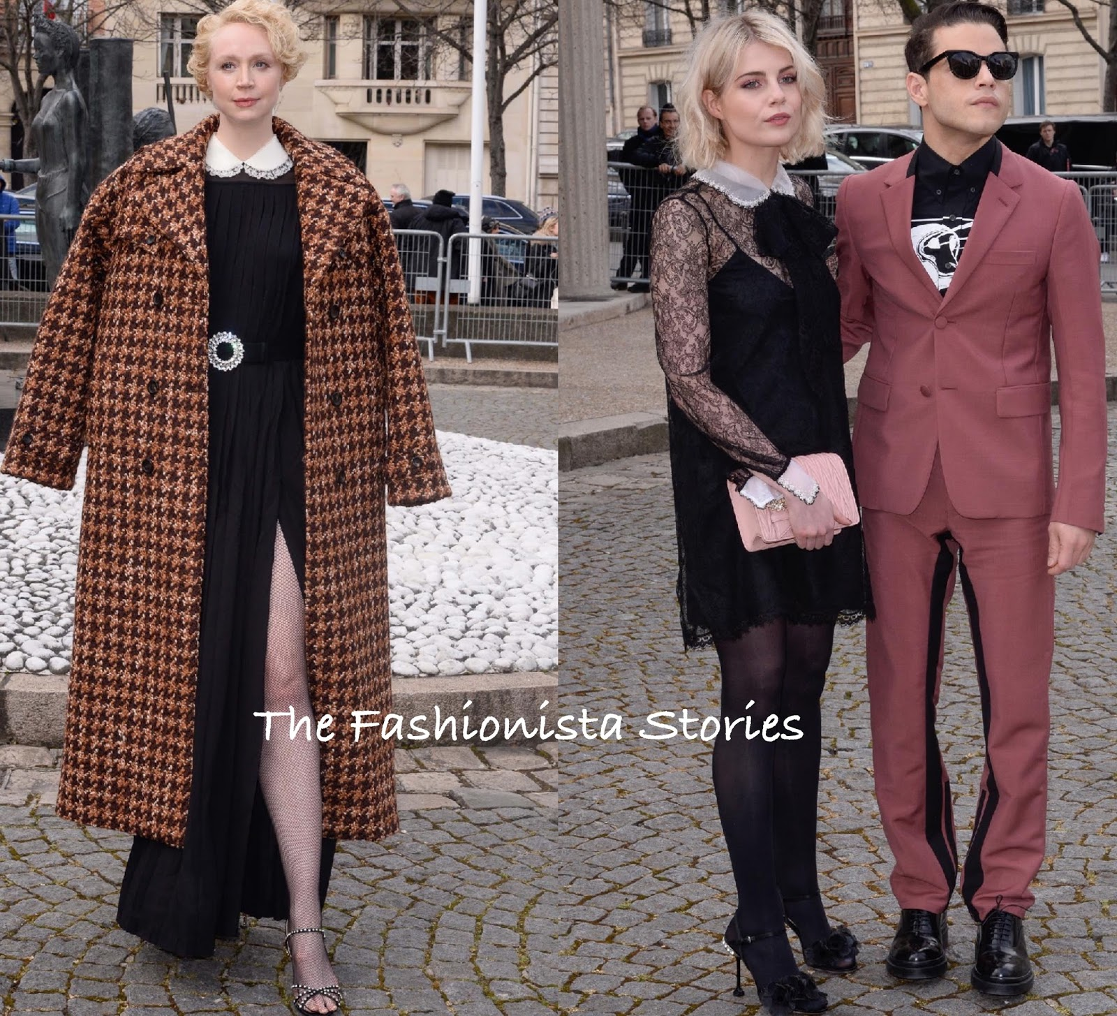 e69c4879eb5f Gwendoline Christie worked the split on her PRE-FALL 2018 black long sleeve  pleated dress with a white peter pane