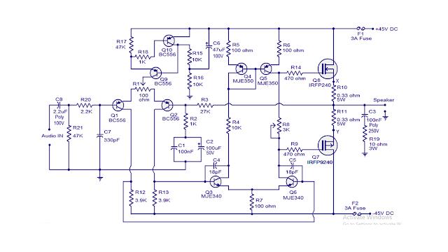 rangkaian power ampli 100 watt MOSFET