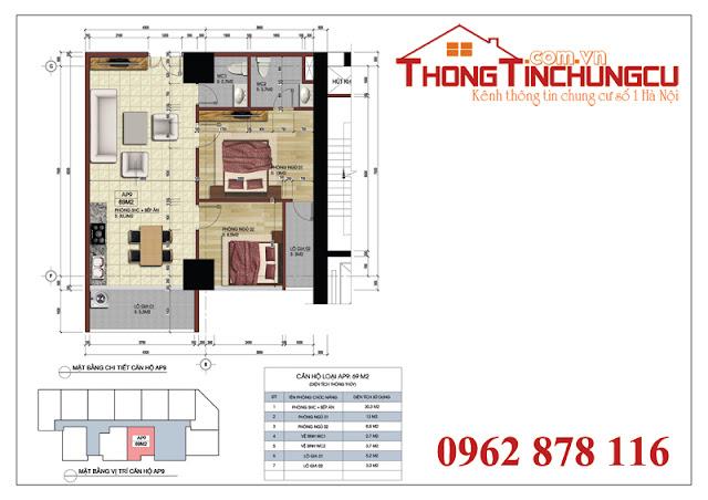 Thiết kế căn hộ số 9A – Căn hộ số 9 tòa A dự án Central Field MBLand 219 Trung Kính – diện tích 69m2.