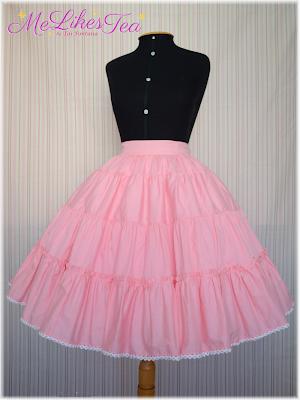 50cm, 3 layers. Skirt 65cm long