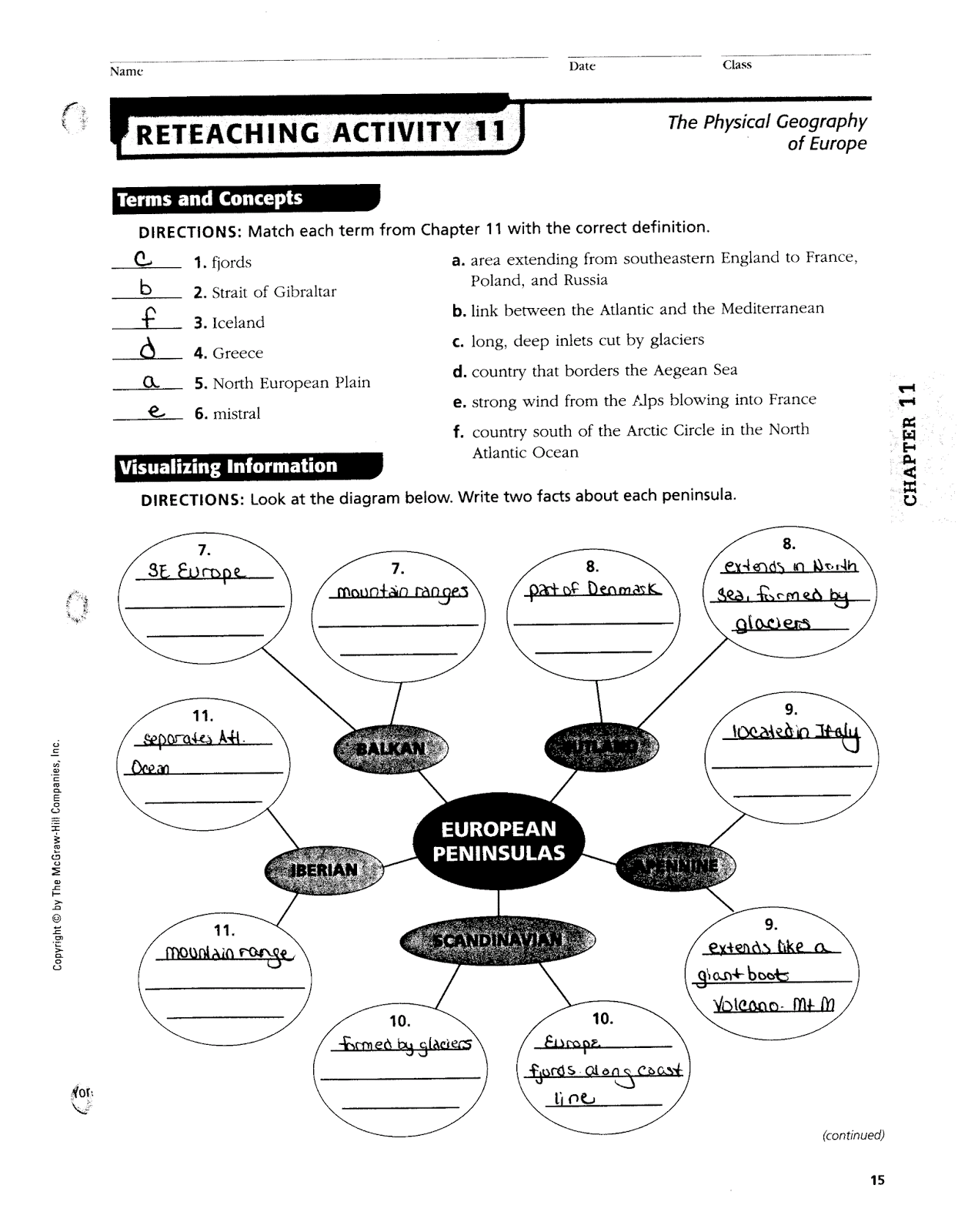 Europe Physical Geography Worksheet