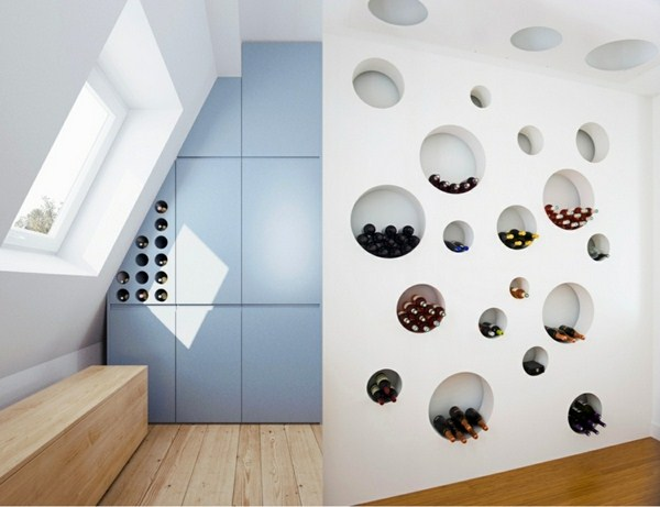 Wine Store Shelf Circles Form White Partition Wall