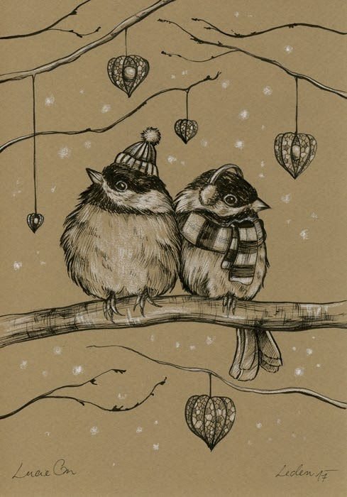 13-First-Snow-Lucie-Ondruskova-LucieOn-A-Glimpse-of-Fairyland-Animals-in-Drawings-www-designstack-co