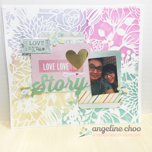 ScrappyScrappy: Embossed Stencil layout #scrappyscrappy #layout #quicktipvideo #emboss #stencil #distressink #dearlizzy