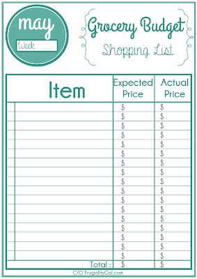shopping list on a budget