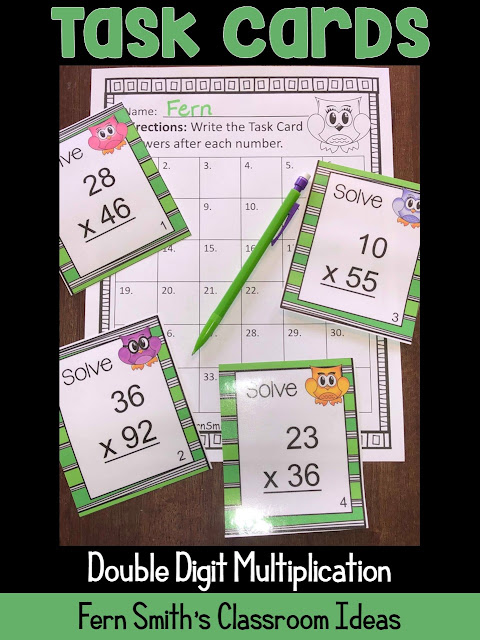 Double Digit Multiplication Task Cards, Answer Key and Recording Sheet with an Adorable Owl Theme at Fern Smith's Classroom Ideas TeacherspayTeachers store, perfect for your spring testing review.
