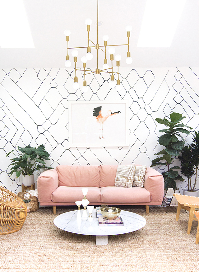 graphic geometric wallpaper blush pink rattan wicker home decor furniture accents interior design trend inspiration modern scandinavian