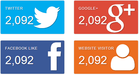 Cool Big Social Counter Button With Bootstrap - jQuery 2 DotNet