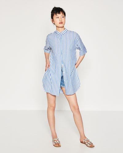 Camisa azul e branco da Zara  primavera-verão 2016