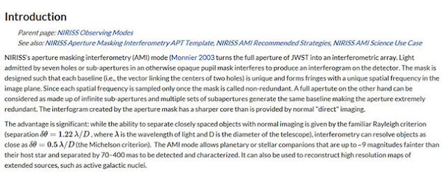 Summary of resolution improvement from AMI and NRM (Source: www.jwst.docs.stci.edu)