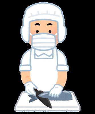 魚を切る人のイラスト(白衣)