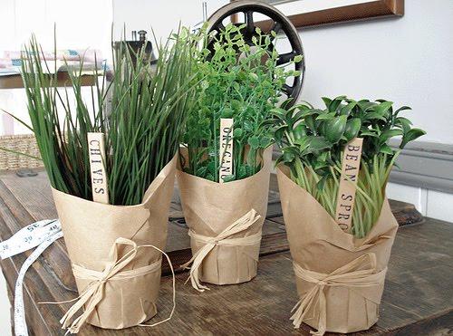 Lembrancinha ervas frescas com papel craft