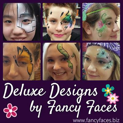 robot, rock star, rose, butterfly, snake, star design face painting