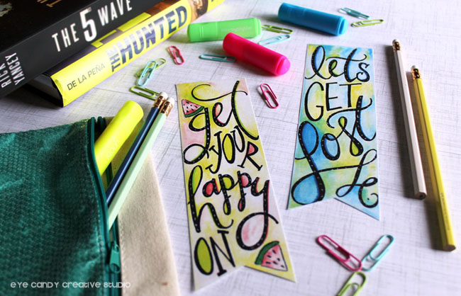 get your happy on, let's get lost, inspirational, free bookmarks, school