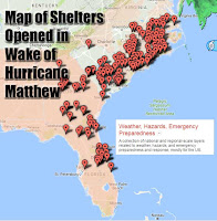 Hurricane Matthew Map of Shelters Opened  in the Wake of