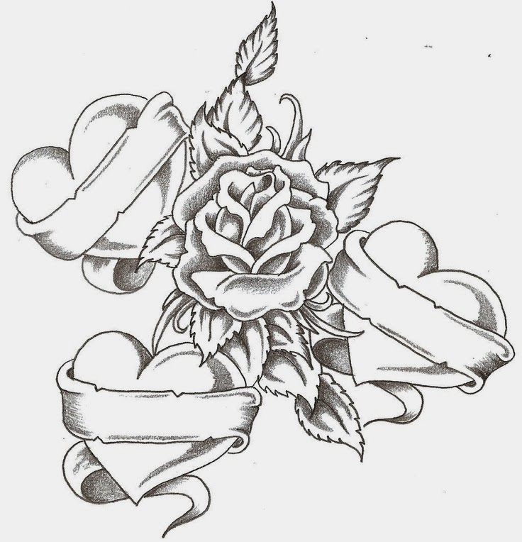 Rose with hearts and banners tattoo stencil