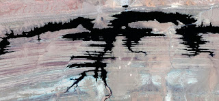 Surreal, alien desert waiting for new victims, abstract landscapes from the air from the deserts of Africa,