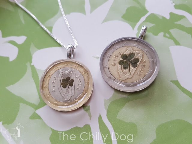 Transform a foreign coin and shamrock into a keepsake pendant