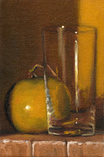 Oil painting of a grapefruit beside a cider glass.