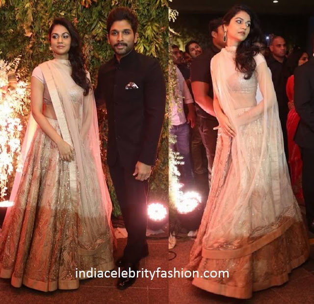 Allu Arjun and Sneha Reddy at Sreeja's Wedding Reception