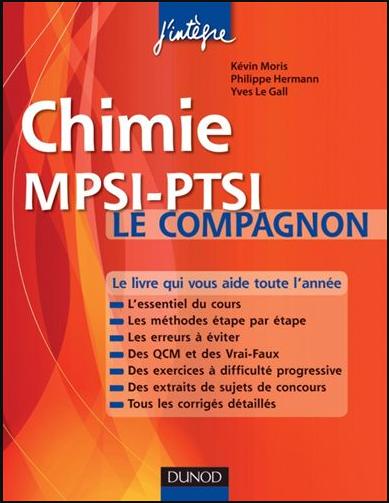 Livre : Chimie Le compagnon MPSI-PTSI - Cours, Méthodes, QCM, Exercices corrigés PDF