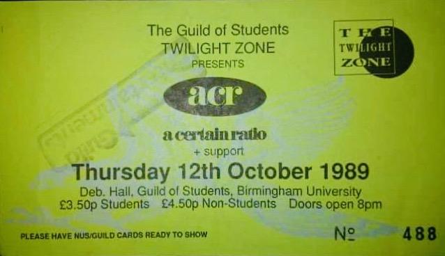 12 Oct 1989, Birmingham University, Birmingham - ACR Gigography