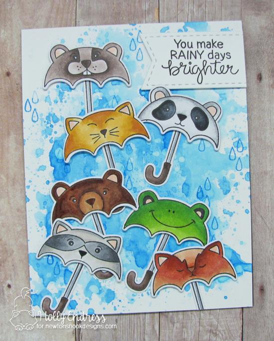 Umbrella animals Card by Holly Endress | Umbrella Pals Stamp Set and die set by Newton's Nook Designs #newtonsnook #handmade