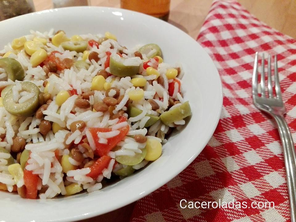 Ensalada de arroz y lentejas