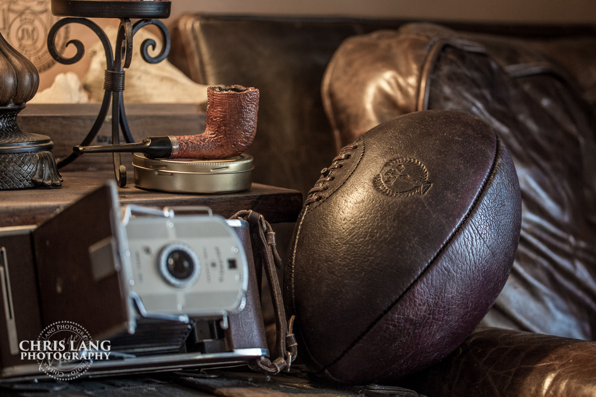 Vintage genuine leather rugby ball - sports memoribilla  - Vintage sports balls for interior design - Chris Lang Photography