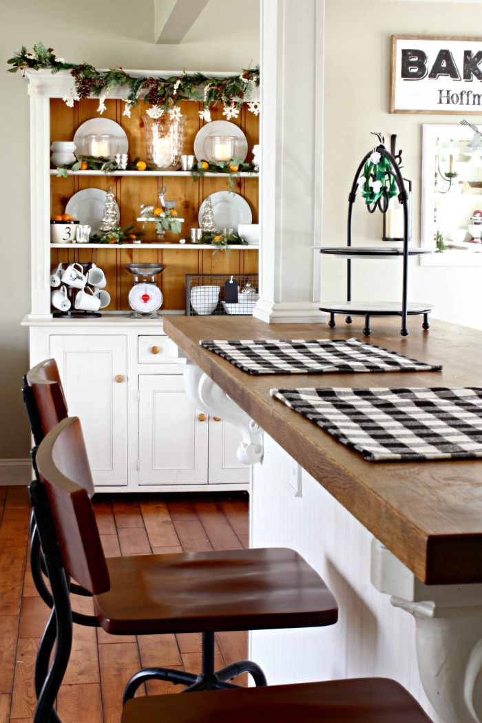 Farmhouse style hutch in kitchen dining room - www.goldenboysandme.com
