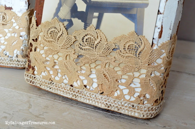 repurposed salvaged wood picture holder lace upcycle