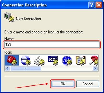 Enter a name for the connection, for example, '123' and press 'OK'.