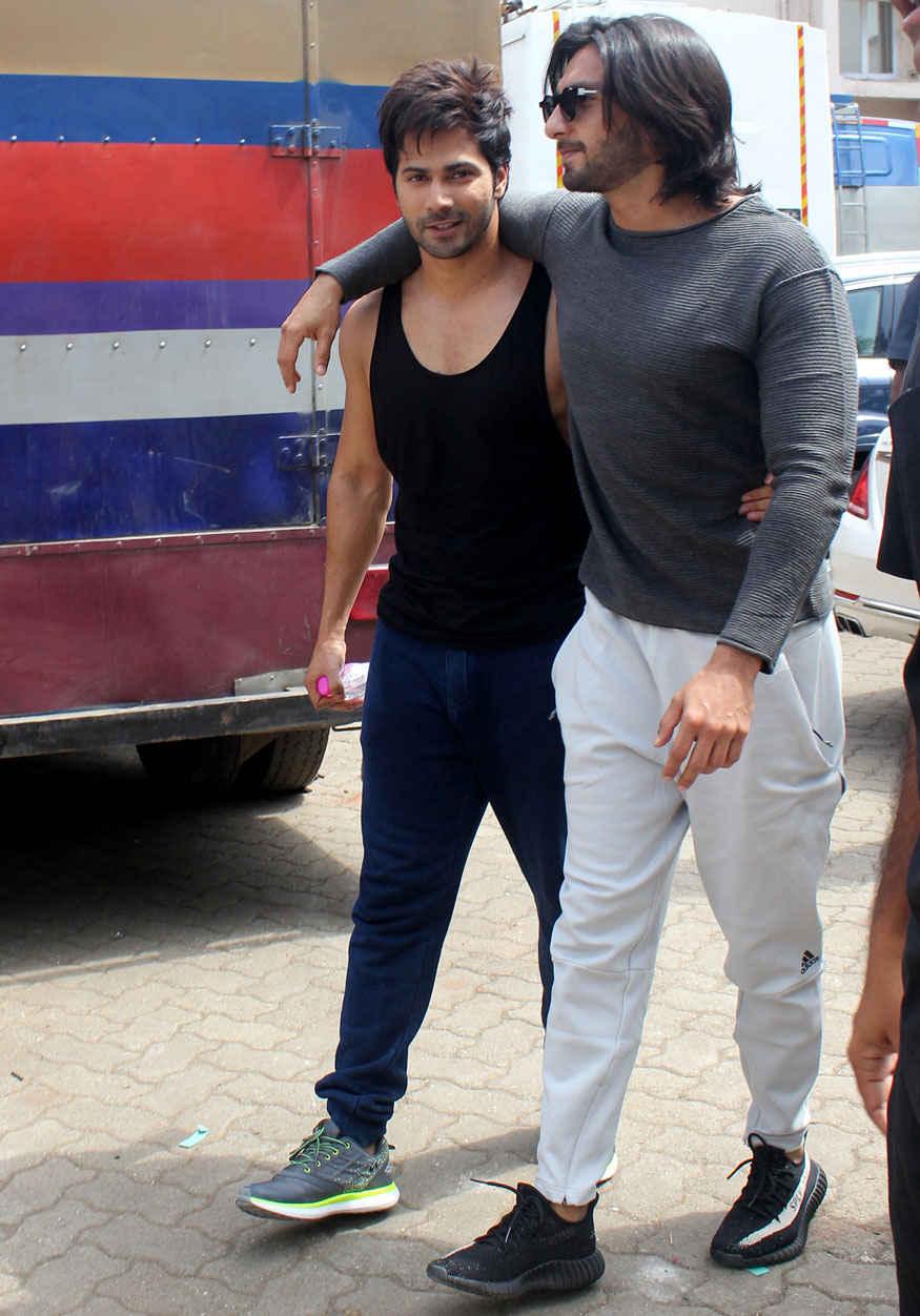 Varun Dhawan and Ranveer Singh at Mehboob Studio In Bandra West, Mumbai