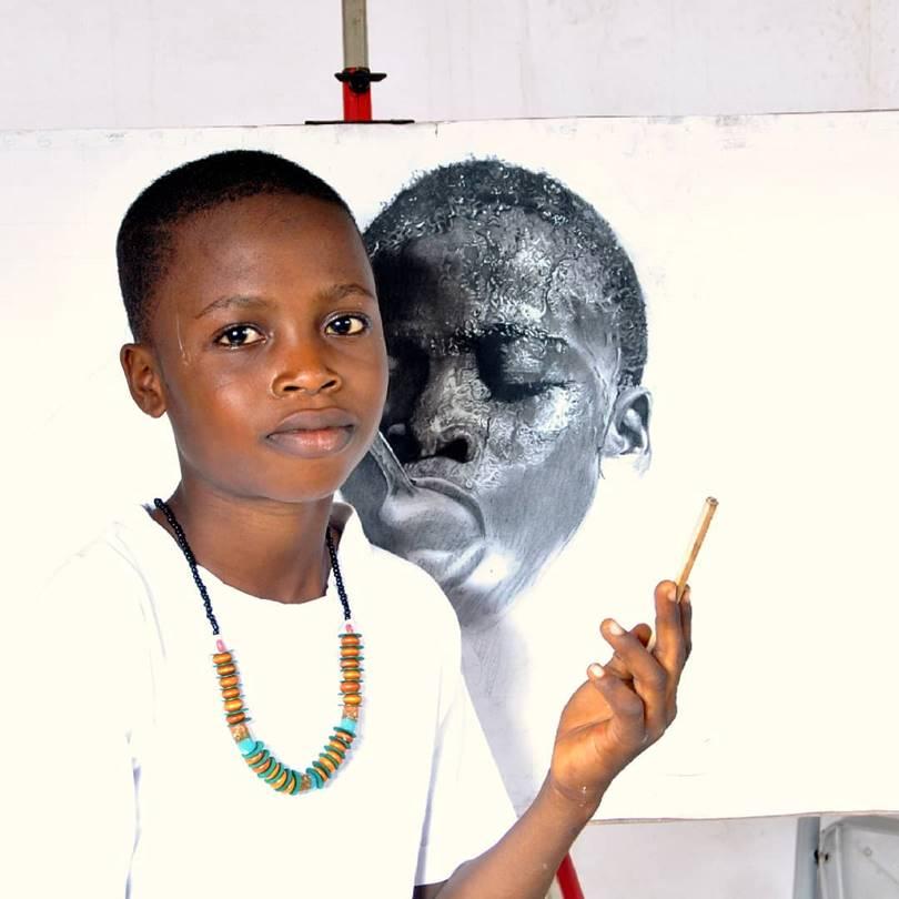 Kareem creates hyper-realistic works that not every adult artist can do.