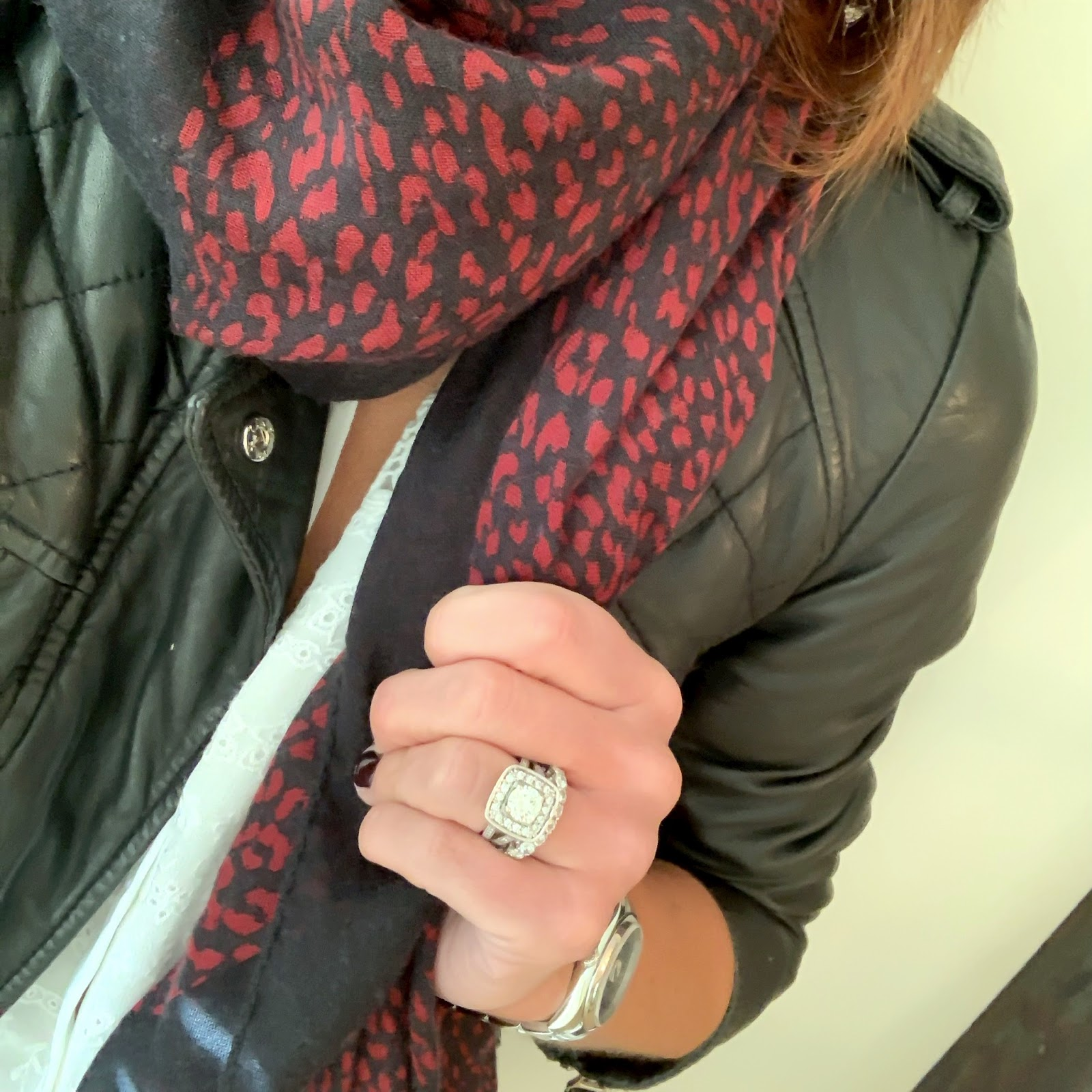 my midlife fashion, saint laurent leopard print scarf, isabel marant etoile leather jacket, somerset by alice temperley white blouse, hush skinny biker jeans, french sole india ballet shoes, mulberry bayswater