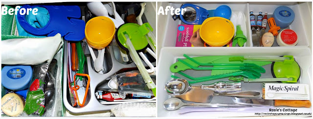 "Kitchen ""junk"" drawer - before & after"