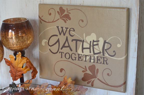 We Gather Together Handpainted Thanksgiving Sign