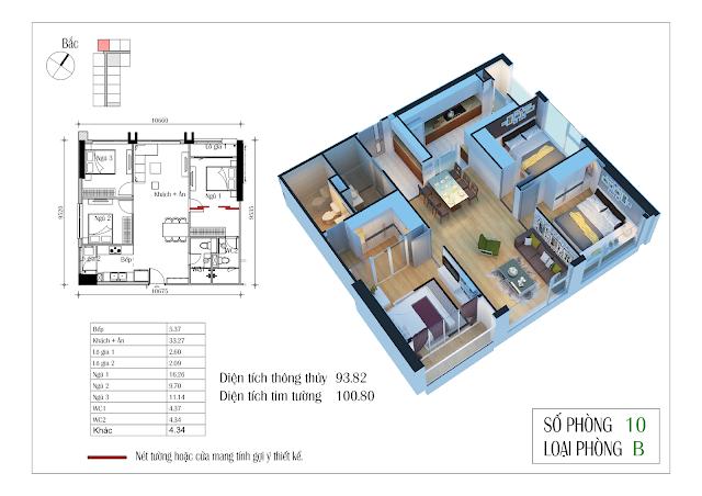 Thiết kế căn hộ số 10: 93,82m2