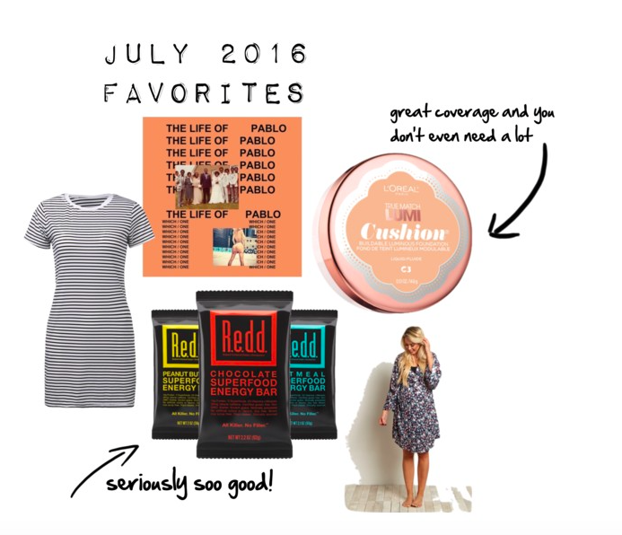 fashion and lifestyle blogger, fblogger, july 2016 favorites, Loreal Lumi foundation, pink blush maternity, portland blogger, striped dress, The life of pablo,
