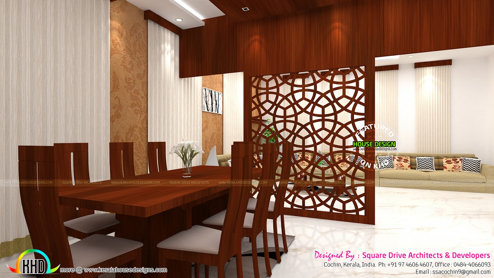 Dining Room Entry Designs Foyer Living Dining Room Interiors Kerala Home Design