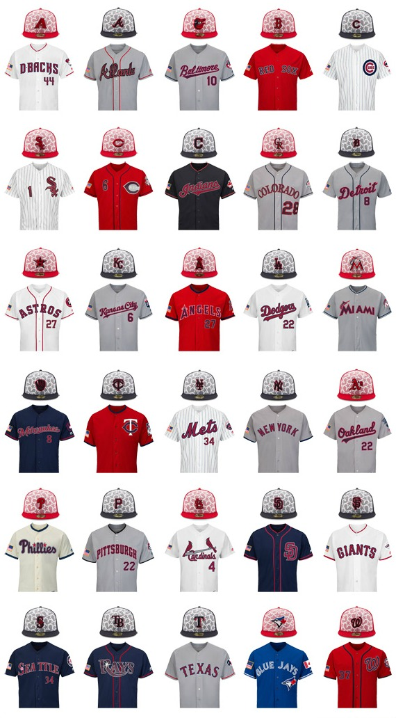 e4f4aa76982 Major League Baseball s licensing royalties from the sale of the replica  caps and jerseys their teams  players will be wearing on the field for  Independence ...