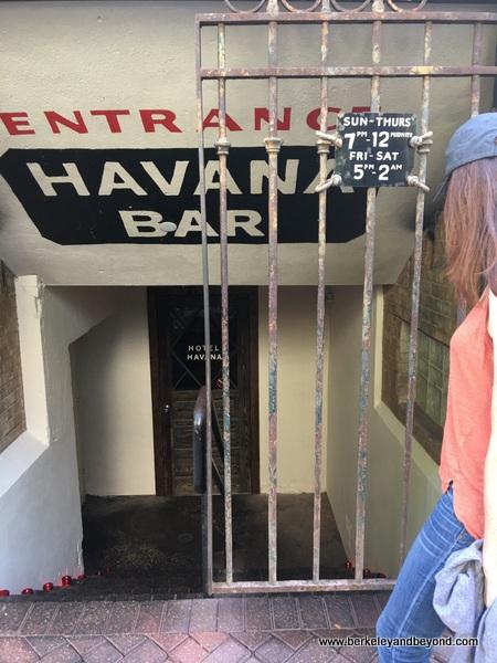 entrance to subterranean Havana Bar at Hotel Havana in San Antonio, Texas