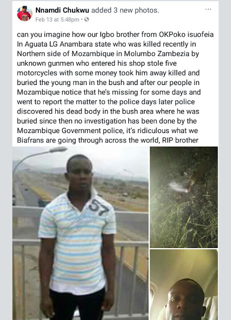 Photos: Suspected armed robbers kill Nigerian trader in Mozambique, bury body in bush