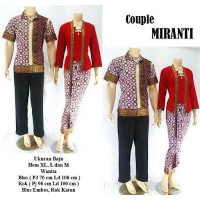 Batik Pasangan Couple Sarimbit Miranti Merah