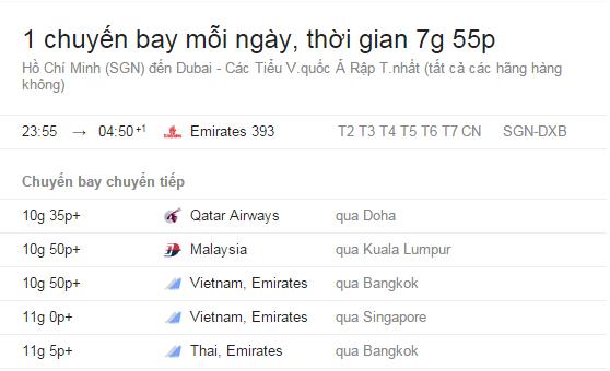 Lịch bay và giá vé máy bay Hồ Chí Minh đi Dubai