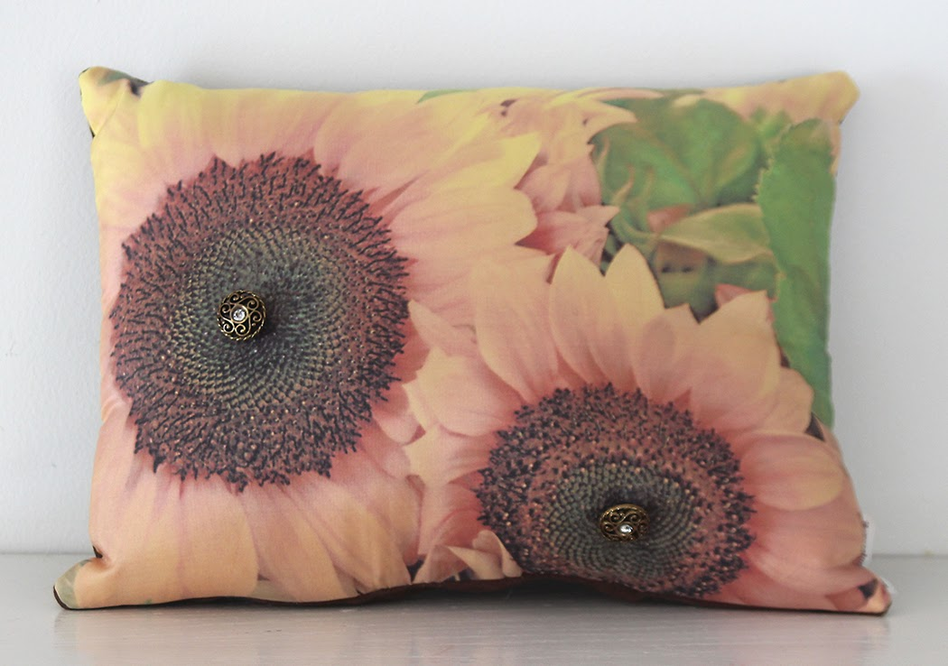 silk sunflower pillow